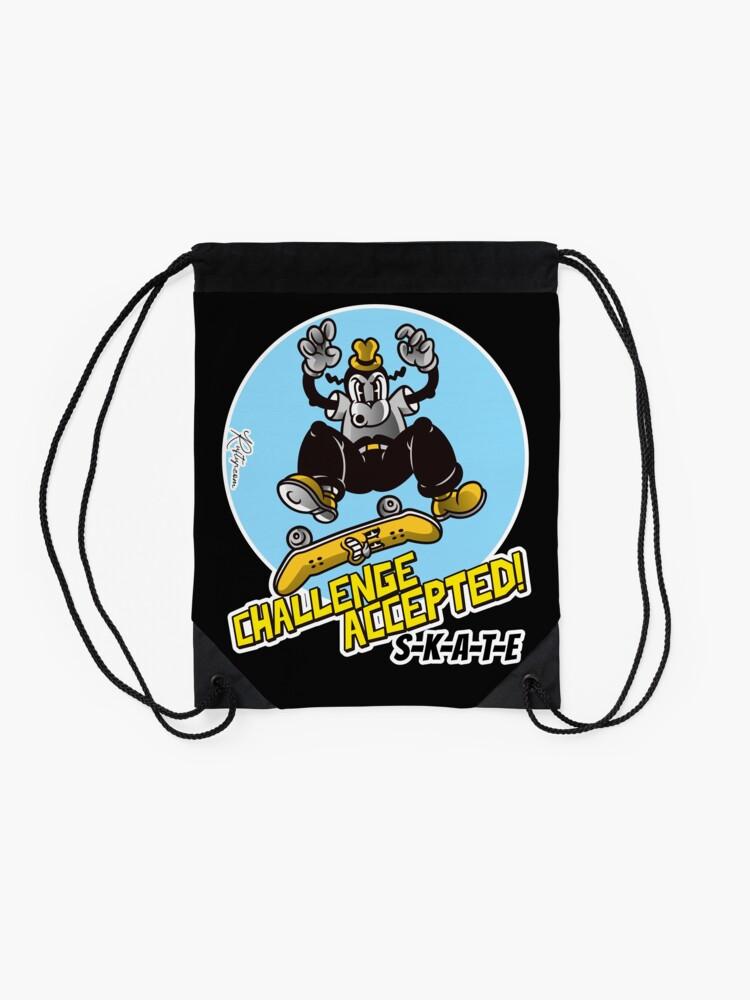 Alternate view of Skate or Die, Challenge Accepted SKATE Skateboarder Design Drawstring Bag