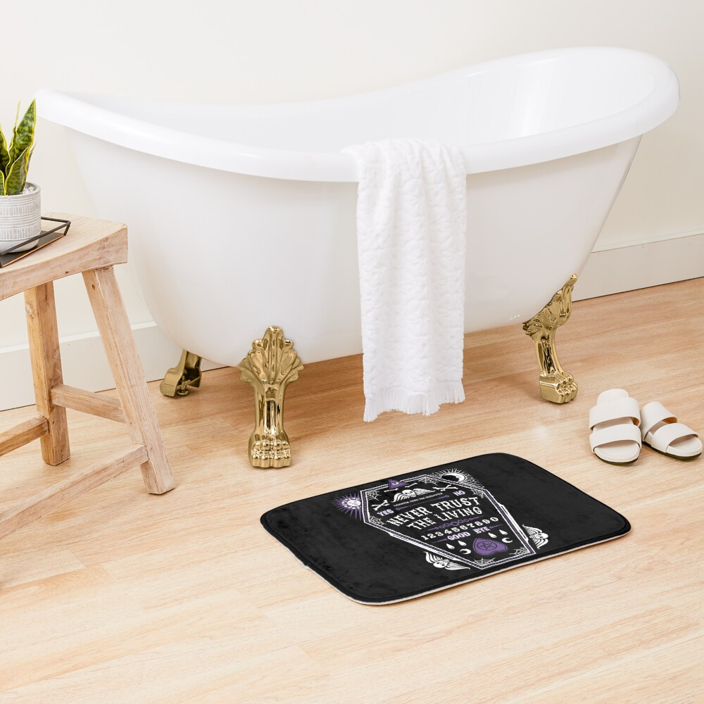 Hereafter - Never Trust The Living - Beetlejuice - Creepy Cute Goth - Occult Bath Mat