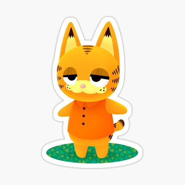Animal Crossing Garfield Sticker By Mellydoodle Redbubble