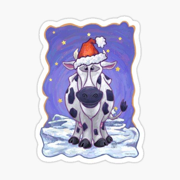 Cow Christmas Sticker