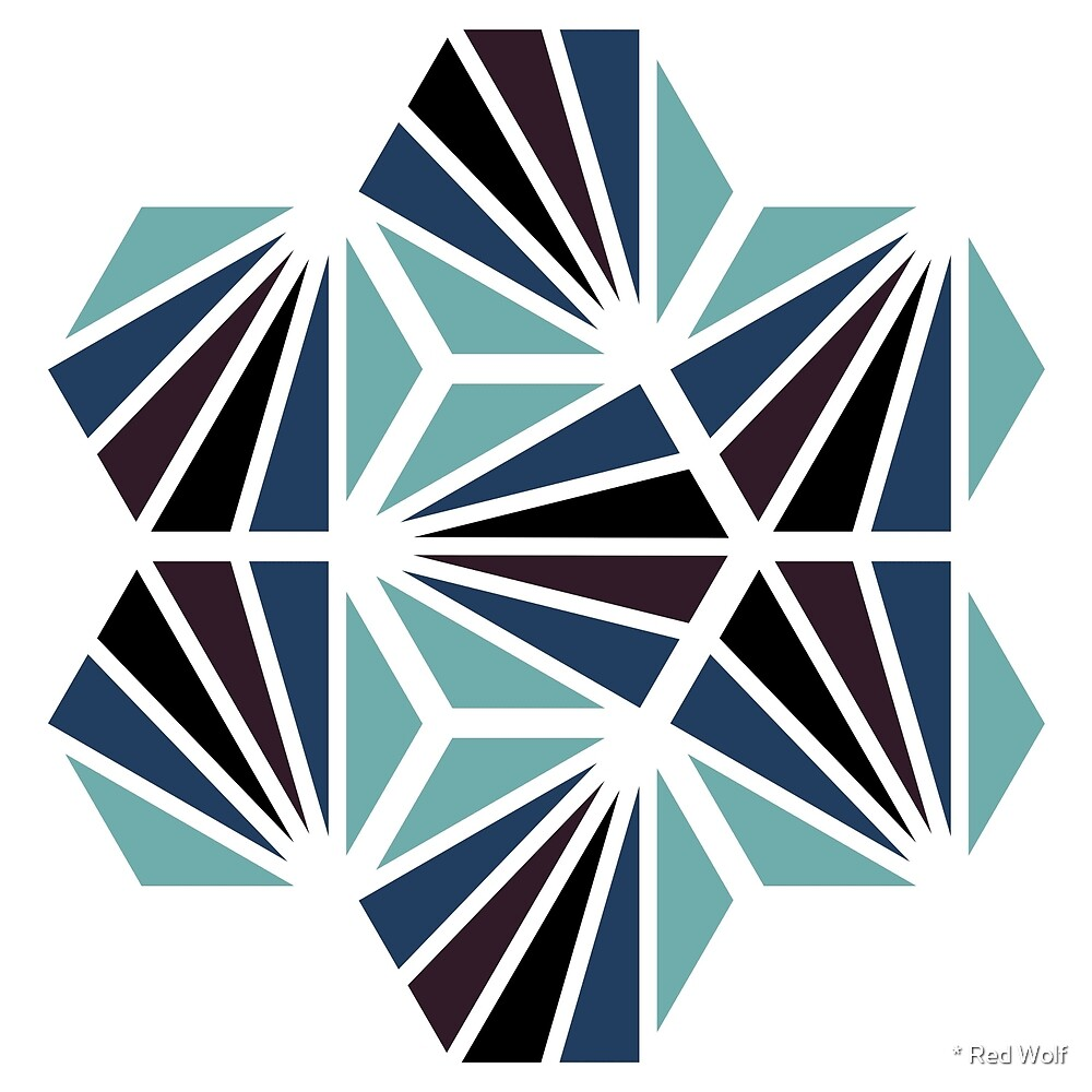 Geometric Pattern: Hexagon Ray: Midnight by * Red Wolf