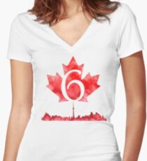 Toronto 6 Women's Fitted V-Neck T-Shirt