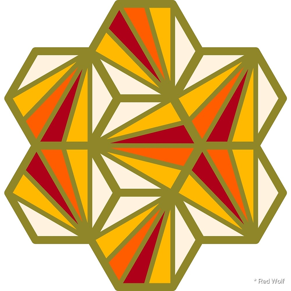 Geometric Pattern: Hexagon Ray: Sunset by * Red Wolf