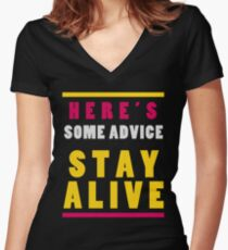 Stay Alive Women's Fitted V-Neck T-Shirt
