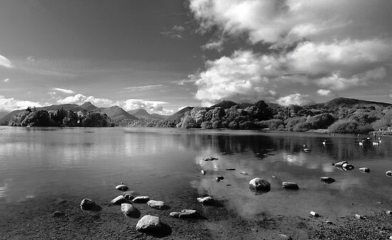 Derwentwater, English Lake District in B&W by Bob Culshaw