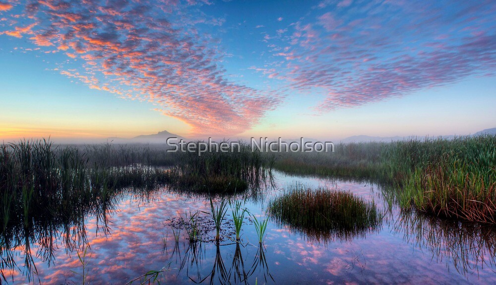 Foggy sunrise over the Town Common to Castle Hill by Stephen  Nicholson