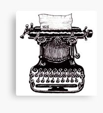 Vintage Typewriter black and white pen ink drawing Canvas Print
