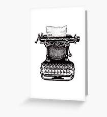 Vintage Typewriter black and white pen ink drawing Greeting Card