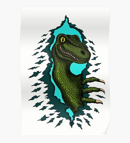 Raptor is Here funny dinosaur cartoon drawing Poster