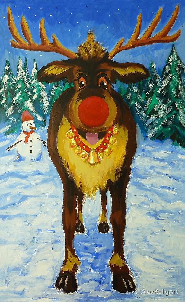 Rudolf the Red Nose Reindeer by AlexKellyArt