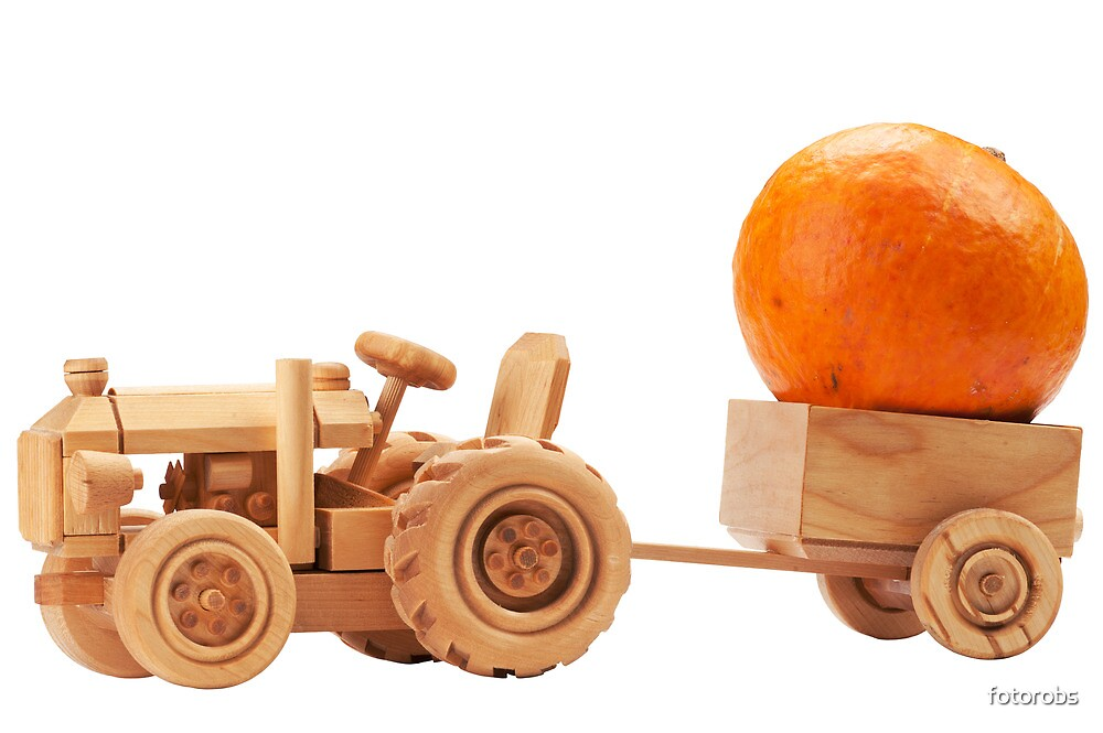Quot Toy Tractor With Orange Pumpkin Quot By Fotorobs Redbubble