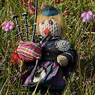 Scotty plays the Pipes beside the Cross-leaved Heath by cuilcreations