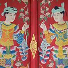 Mural on temple window, Wat Palad, Chiang Mai, Thailand by John Spies