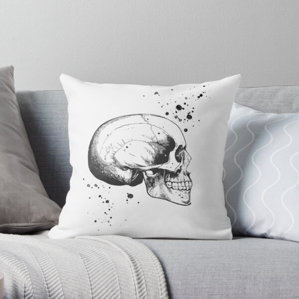 Skull Art • Illustration With Splashes • White • Goth Throw Pillow