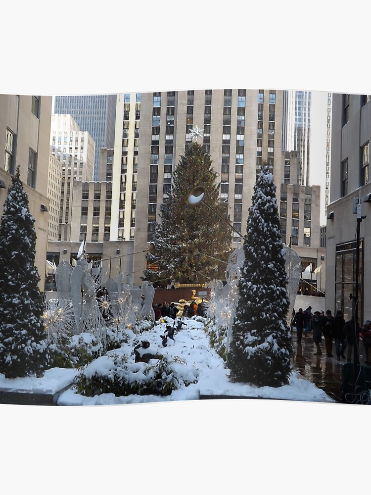 Gray Christmas Tree Decorations.Rockefeller Center Christmas Tree Decorations After A Snowfall New York City Poster
