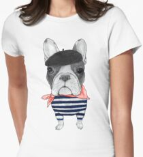 Frenchie With Arc de Triomphe Women's Fitted T-Shirt