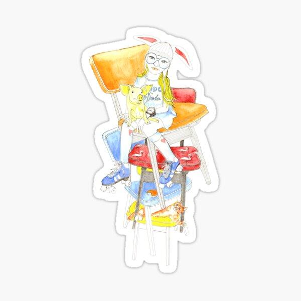 Wonderful Alice in white rabbit hat Sticker