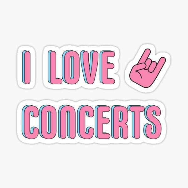 I LOVE CONCERTS ROCK ON HAND SYMBOL PINK Sticker