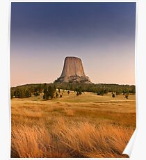 Devils Tower at Sunset  Poster