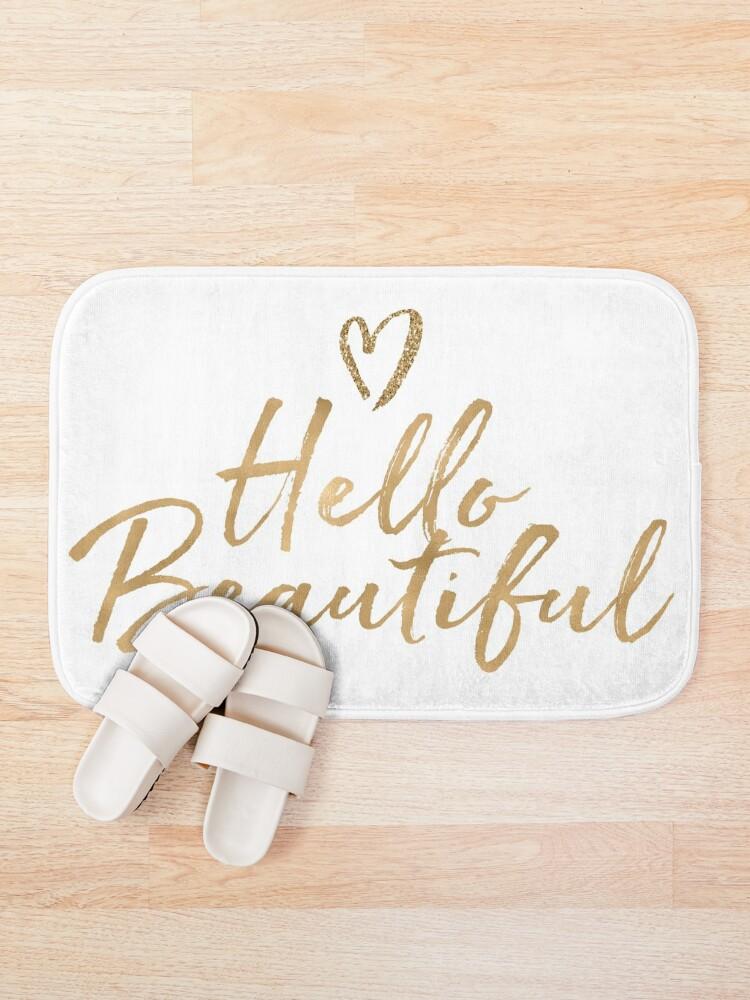 Alternate view of Gold Girly Glam Glitter Heart Hello Beautiful Bath Mat