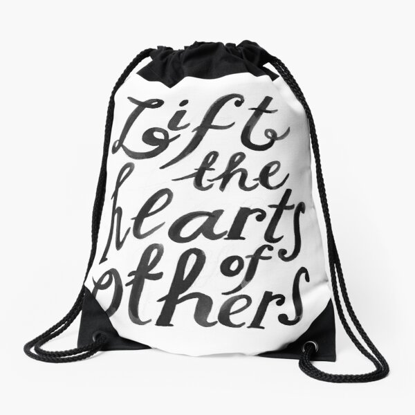 lift the hearts of others (with pencil marks) Drawstring Bag