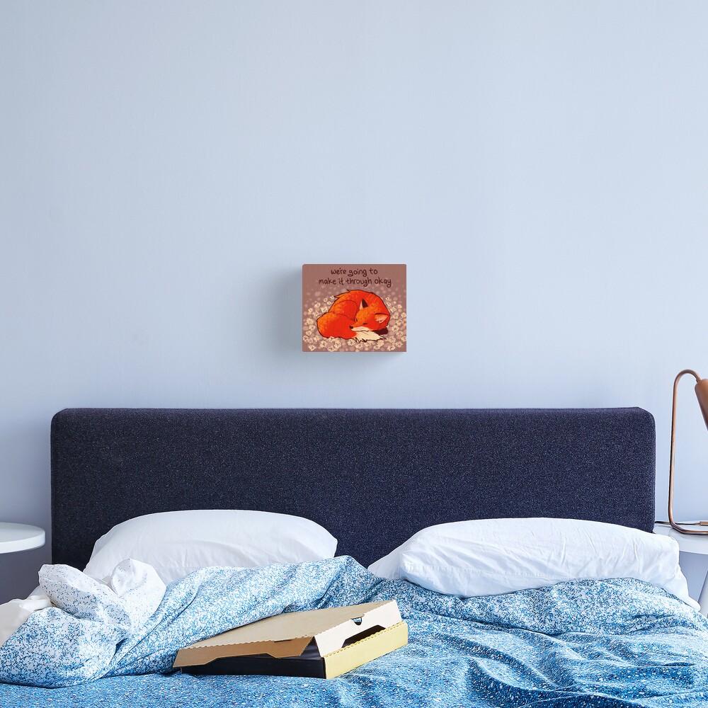 """We're Going to Make it Through Okay"" Sleeping Flower Fox Canvas Print"