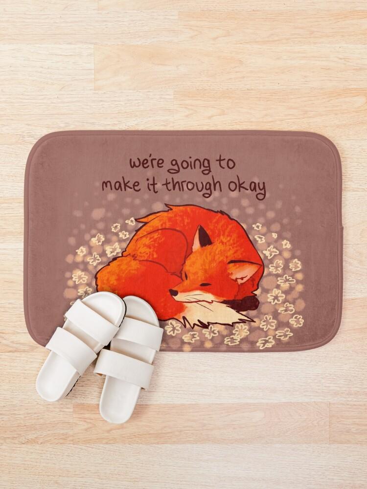 "Alternate view of ""We're Going to Make it Through Okay"" Sleeping Flower Fox Bath Mat"