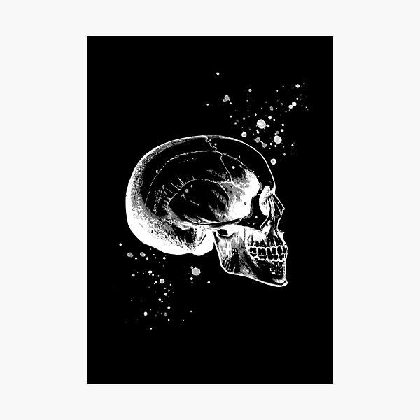 Skull Art • Illustration With Splashes • Black • Goth Photographic Print