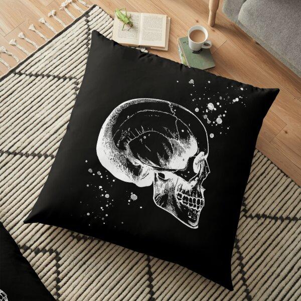 Skull Art • Illustration With Splashes • Black • Goth Floor Pillow