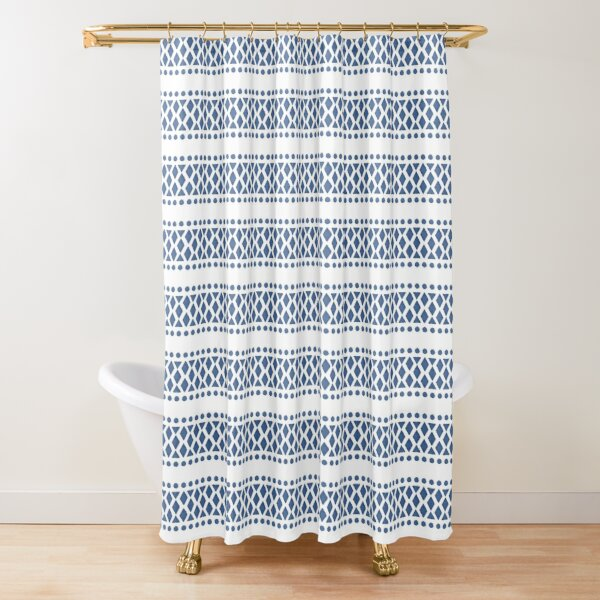 Classic blue and white tribal boho pattern Shower Curtain