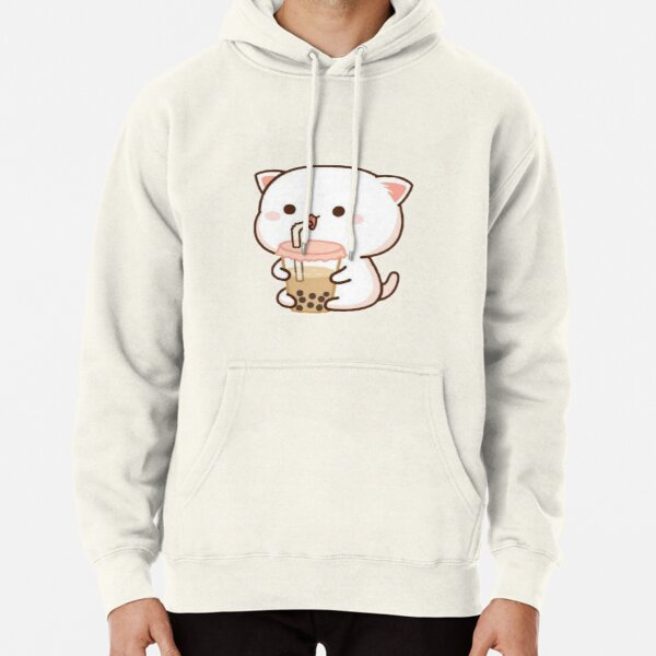 Cat drinking boba Pullover Hoodie