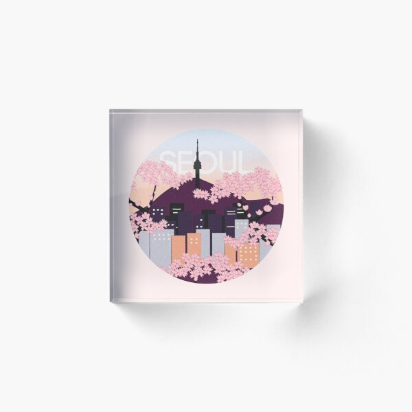 Seoul Tower With Woodblock Style Cherry Blossoms South Korea  Acrylic Block