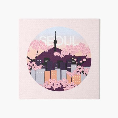 Seoul Tower With Woodblock Style Cherry Blossoms South Korea  Art Board Print