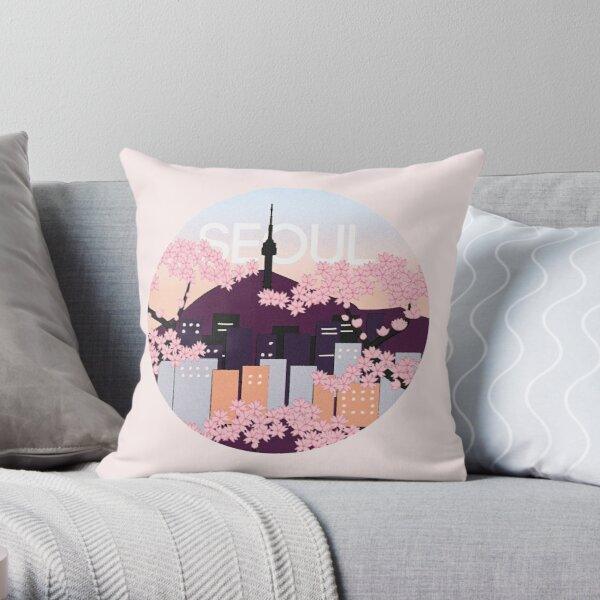 Seoul Tower With Woodblock Style Cherry Blossoms South Korea  Throw Pillow