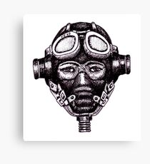 WW2 Pilot in Mask black and white pen ink drawing Canvas Print