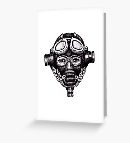 WW2 Pilot in Mask black and white pen ink drawing Greeting Card