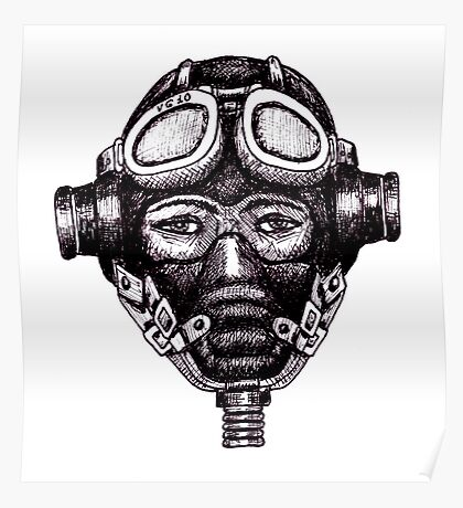 WW2 Pilot in Mask black and white pen ink drawing Poster