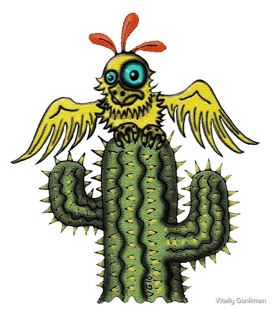 Wrong Landing funny bird on cactus cartoon art by Vitaliy Gonikman