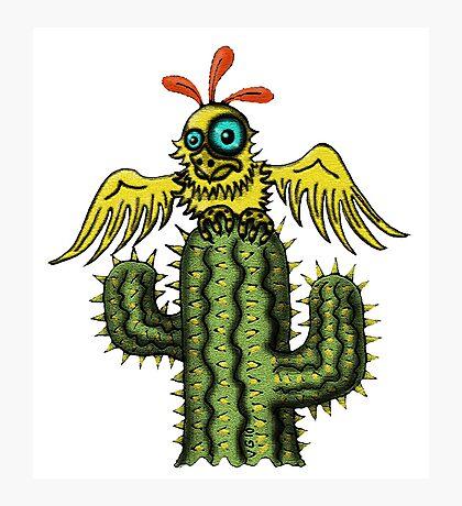 Wrong Landing funny bird on cactus cartoon art Photographic Print