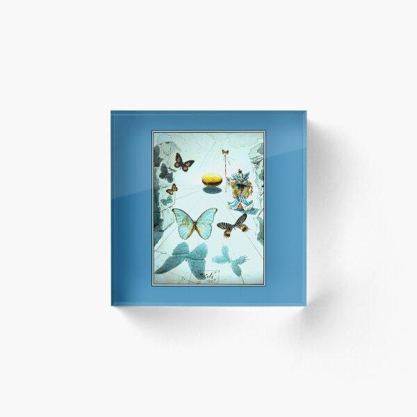 ALLEGORIE DE SOIE : Vintage 1950 Dali Butterfly Print Acrylic Block
