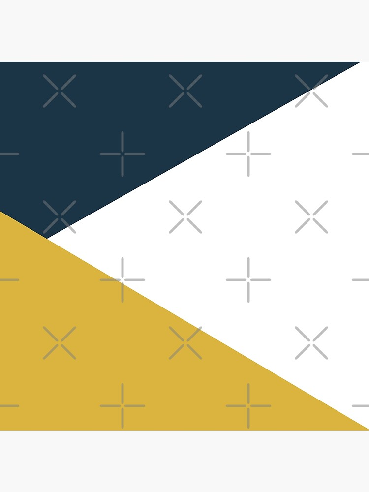 Angled Color Block in Navy Blue, Light Mustard Yellow, and White by kierkegaard