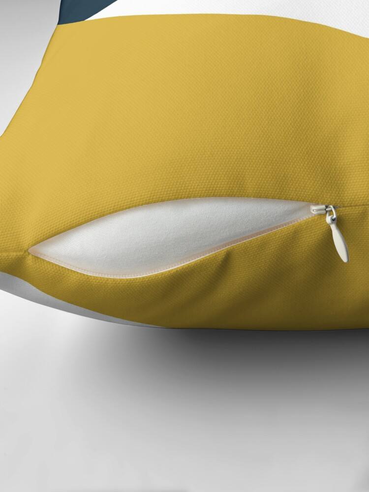 Alternate view of Angled Color Block in Navy Blue, Light Mustard Yellow, and White Throw Pillow