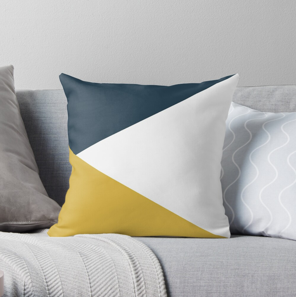 Angled Color Block in Navy Blue, Light Mustard Yellow, and White Throw Pillow
