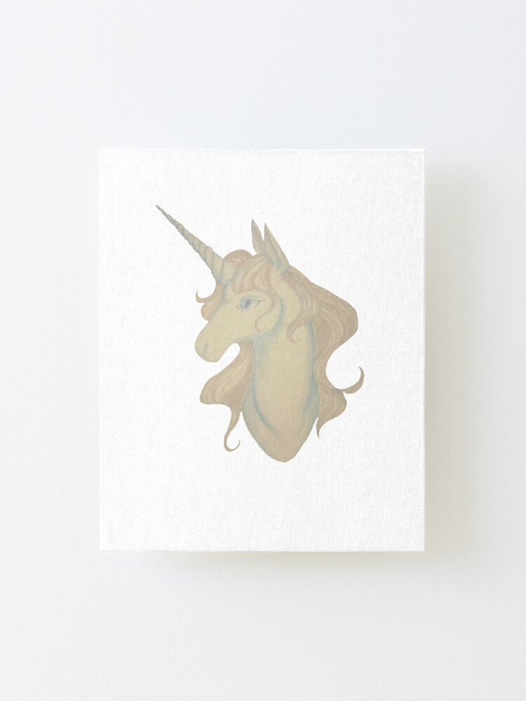 Alternate view of White unicorn Mounted Print