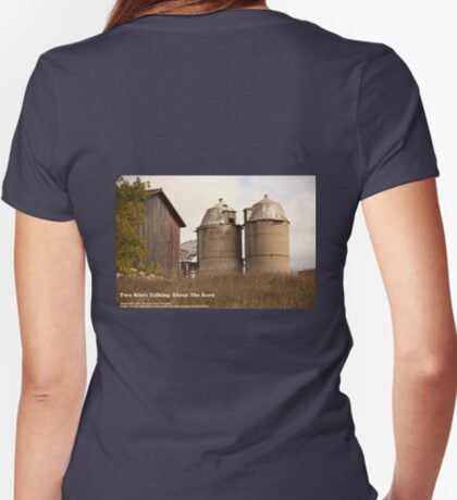 Two Silo's Talking About The Barn Women's Fitted V-Neck T-Shirt