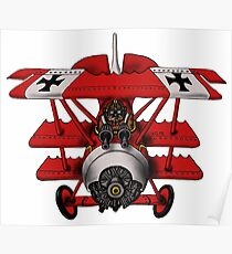 Red Baron airplane funny cartoon Poster