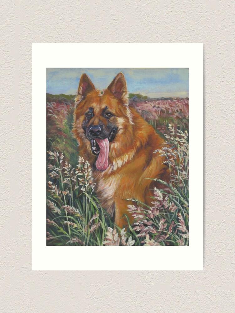 Puppy German Shepherd Alsatian 12X16 Inch Framed Art Print