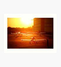 Airplanes at Sunset Art Print