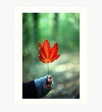 Girl holding Red Autumn Leaf Art Print