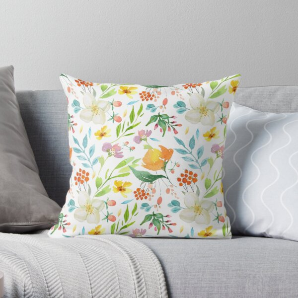 Sweet meadow watercolor floral pattern Throw Pillow